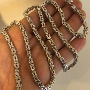 Byzantine Rope Chain Real Solid Sterling 925